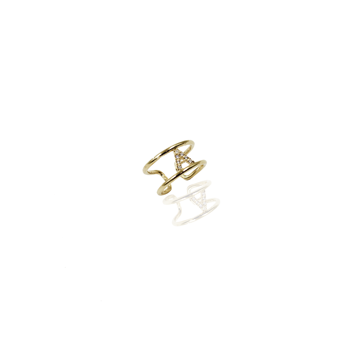 Anel Monograma Wof Prata Dourada 925 c/ Zircónias