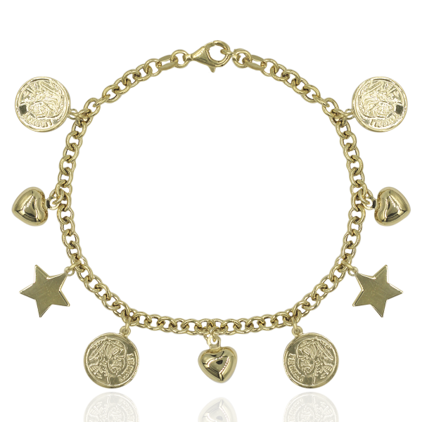 PULSEIRA WOF CHARM COLLECTION PRATA DOURADA PRATA 925