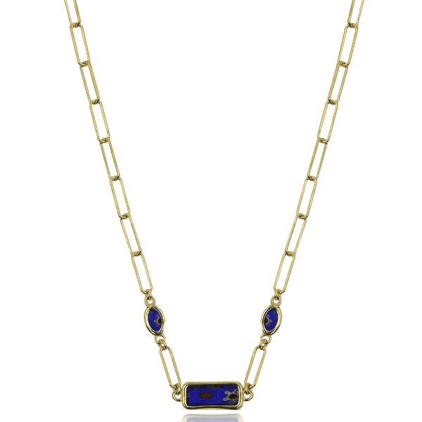 COLAR WOF MOSAIC COLLECTION PRATA DOURADA LAPISLAZULI 925