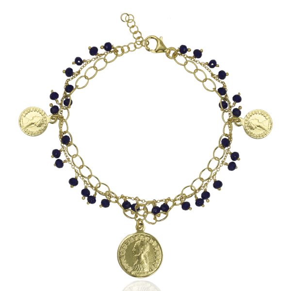PULSEIRA WOF PRATA DOUR. POUND COLLECTION C/ ONIX 925