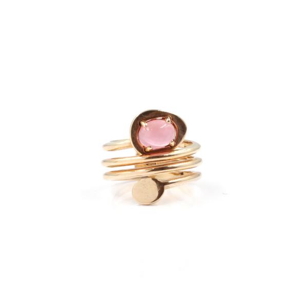 Anel em prata 925 rosa com pedra hidrotermal