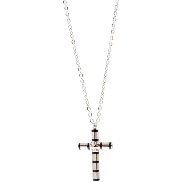 Colar em aço com cruz, 45cm