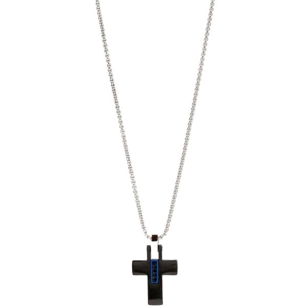 Colar em aço com cruz e zircónia, 50cm