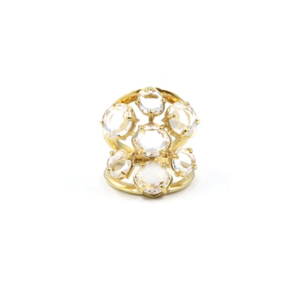 Anel em prata 925, dourada e quartzos