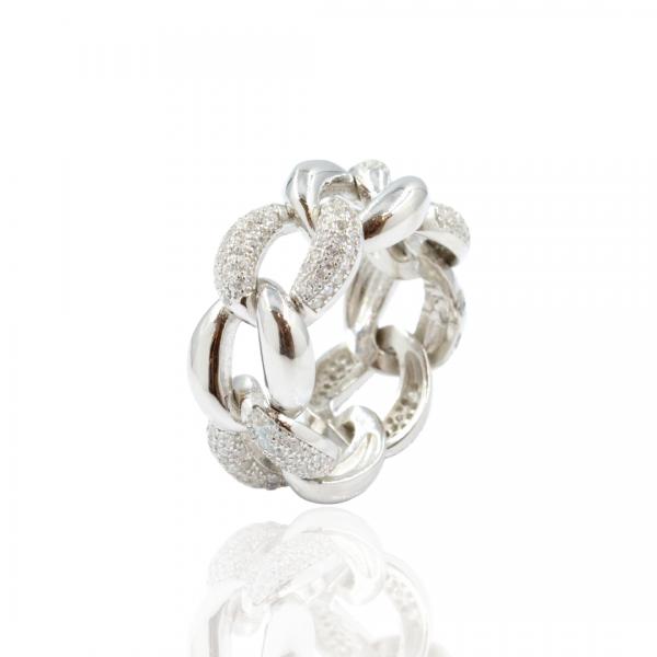 Anéis em prata rodinada, 925 com zircónias