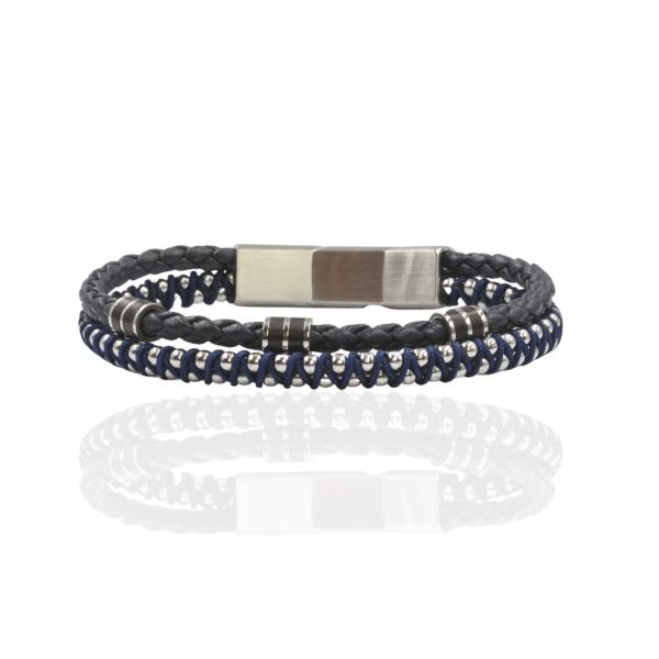 pulseira aço e couro azul