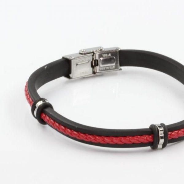 Pulseira vermelha e preta com aço