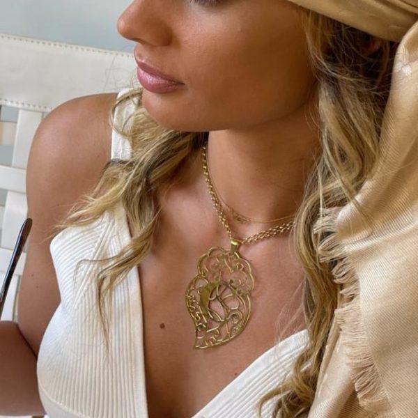 Colar em prata dourada coração com monograma