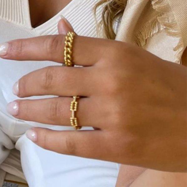 Anel em prata dourada